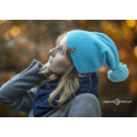 Czapka zimowa błękitna z pomponem