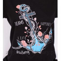 Koszulka damska czarna Kotwica z różami