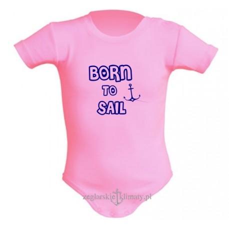 Body niemowlęce BORN to SAIL różowe