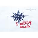 Duży ręcznik biały z haftem Sailing Moods