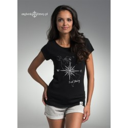 Koszulka damska czarna Róża Wiatrów