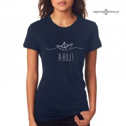 Koszulka damska granatowa AHOJ!