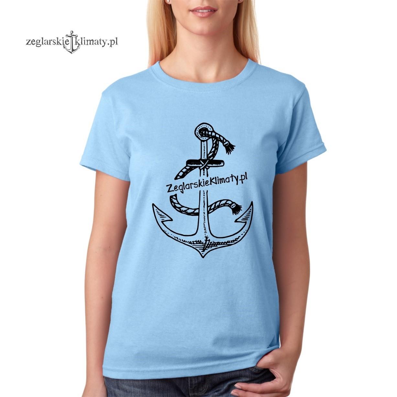 6508b6b51bf873 damska koszulka błękitna, kotwica