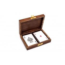 2 talie kart w pudełku palisandrowym