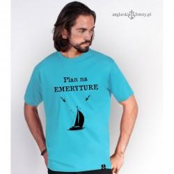 Koszulka męska turkus Plan na emeryturę