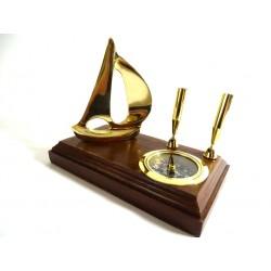 Zestaw na biurko - jacht i kompas