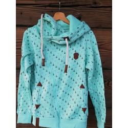 Bluza damska kotwiczki - jachty (pastelowa zieleń)