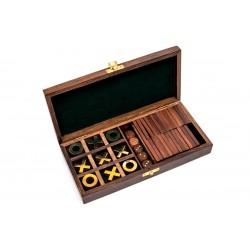 Zestaw 3 gier w pudełku palisandrowym