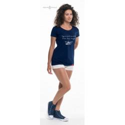 Koszulka damska premium strech Żegluj - napis 3D