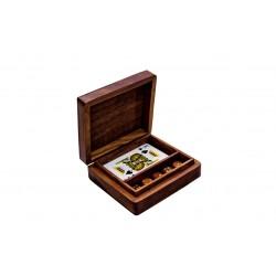 2 w 1 - karty i kości do gry w pudełku palisandrowym