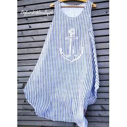 Duża luźna sukienka asymetryczna w paski - srebrna kotwica