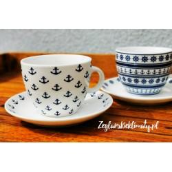 Filizanka z talerzykiem do kawy - kotwice i koła sterowe