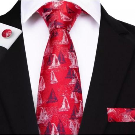 Komplet JACHTY CZ - krawat + spinki + chustka do butonierki :-)