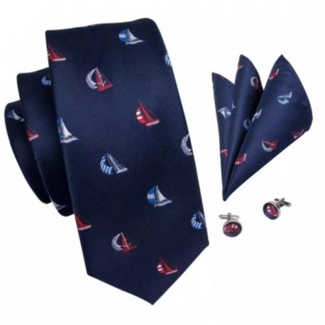 Komplet ŻAGLÓWKI - krawat + spinki do mankietów + poszetka :-)