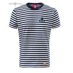 Koszulka unisex w marynarskie paski z małą kotwiczką
