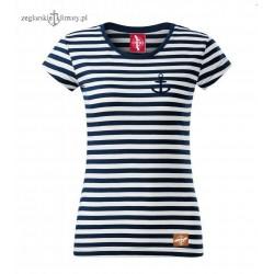 Koszulka damska w paski z małą kotwiczką
