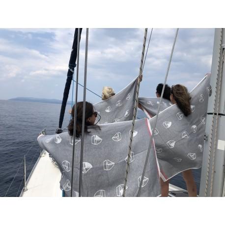 Duży bambusowy ręcznik żakardowy - JACHTY :-)