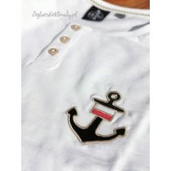 Koszulka męska biała - drewniane guziczki i haft KOTWICA + FLAGA POLSKI