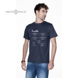 Koszulka męska granatowy melanż z węzłami - Supełki 3D :-)