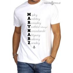 Koszulka męska biała premium MARYNARZ :-)