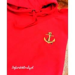 Bluza premium czerwona - haft złota kotwica :-)