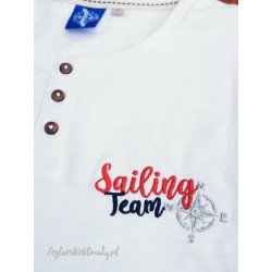 Koszulka męska biała z guzikami - haft SAILING TEAM
