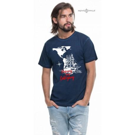 Koszulka męska vintage granatowa Podróżuj Śnij Odkrywaj (3D)