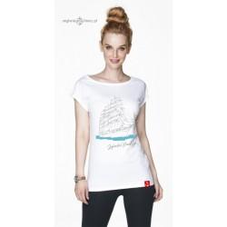 Koszulka damska biała Żeglarskie Klimaty - ŻAGLOWIEC