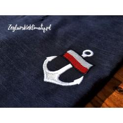 Koszulka męska granatowa z guziczkami - haft kotwica i flaga