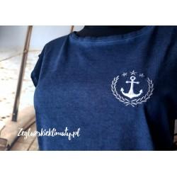 Koszulka damska vintage granatowa - haft kotwiczka