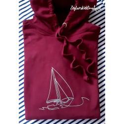 Bluza premium burgund - haft srebrna BOAT