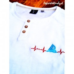 Koszulka męska biała, guziczki - haft Puls Żeglarza