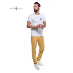 Koszulka męska biała drewniane guziki - haft SAILING kotwica