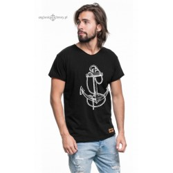 Koszulka męska czarna KOTWICA rys (organic cotton)