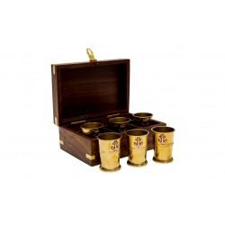 Kieliszki 6szt - mosiężne w pudełku palisandrowym