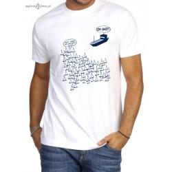 Koszulka męska biała OH SHIT (3D)
