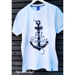 Koszulka męska biała kotwica Ml Marine (3D)
