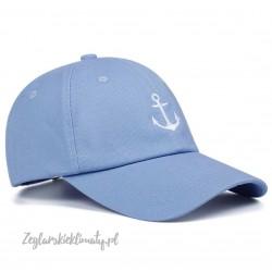 Czapka z daszkiem błękitna - haft mała kotwica