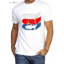 Koszulka męska premium strech biała - 3 kolory JACHT