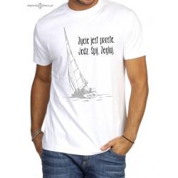 Koszulka męska premium strech biała - Życie jest proste. Jedz. Śpij. Żegluj.