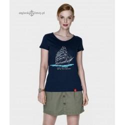 Koszulka damska granatowa Morze, moje morze (organic cotton)