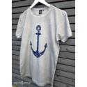 Koszulka męska vintage jasna szara - Kotwica szkic