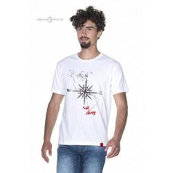 Koszulka męska biała premium strech róża wiatrów SAIL AWAY :-)