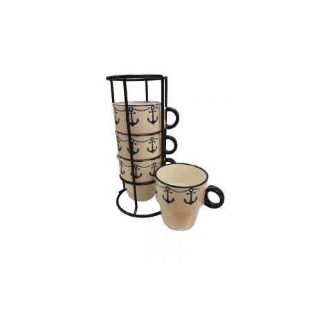 Zestaw kubków z kotwicami na metalowym stojaku :-)