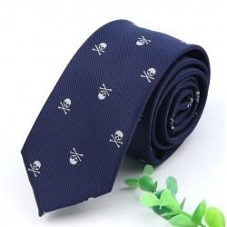Piracki krawat granatowy - czaszki :-)